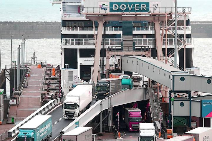 Freight vehicles at Dover port